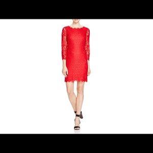 Red DVF Zarita lace dress